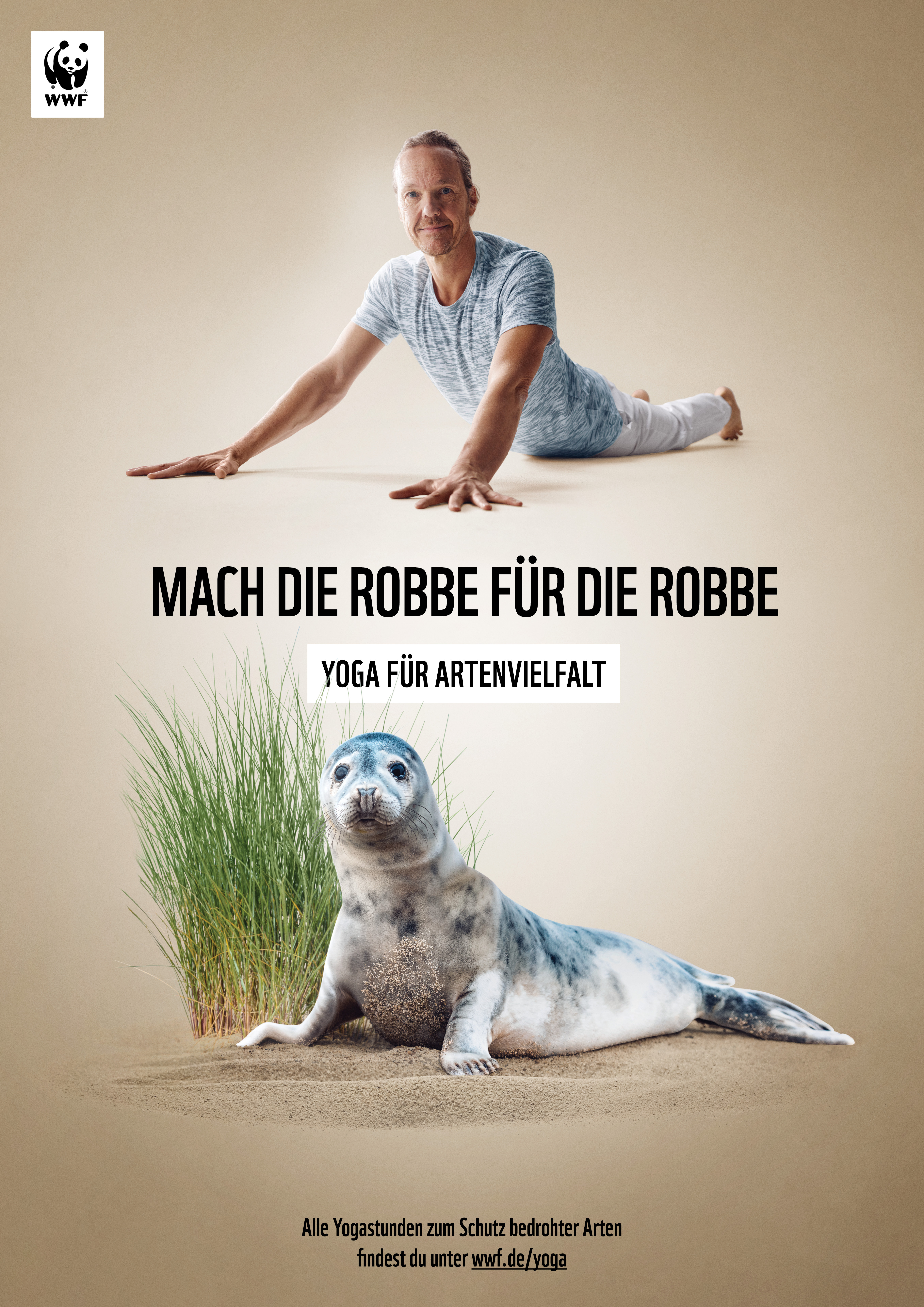 WWF Yoga für Artenvielfalt Mönchsrobbe